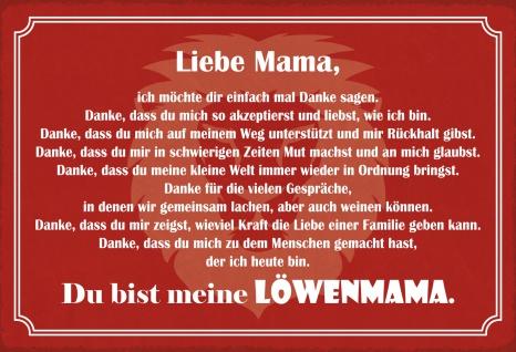 Blechschild Spruch Du bist meine Löwenmama Metallschild Wanddeko 20x30 cm tin sign