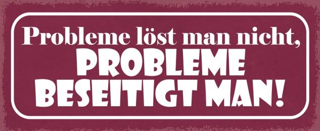 Blechschild Probleme löst man nicht, Probleme beseitigt man Metallschild Wanddeko 27x10 cm tin sign