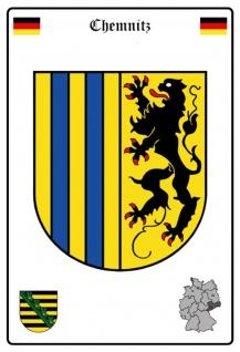 Blechschild Stadt Chemnitz Wappen Straßen Metallschild Wanddeko 20x30 cm tin sign
