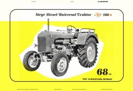 Steyr 280a 68 Ps traktor Trekker Schlepper blechschild
