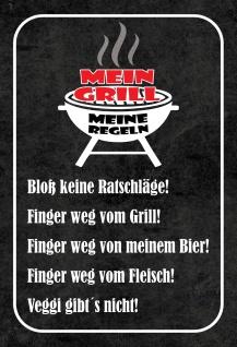 Blechschild Spruch Mein Grill - Meine Regeln Metallschild 20x30 Deko tin sign