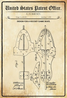 US Patent Office - Design for a Hockey Game Skate - Entwurf für einen Hockey Skate - Barney - Design No 605.285 - 1898 - Blechschild