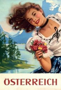 Österreich Alpen Alm Mädchen Frau Blechschild