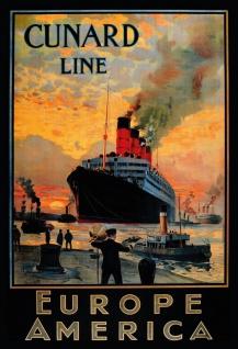 Blechschild Nostalgie Steamship Europe to America Metallschild Wanddeko 20x30 cm tin sign