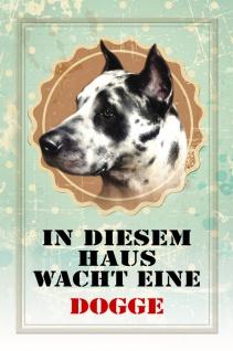 Blechschild Hund In diesem Haus wacht eine Dogge Metallschild Wanddeko 20x30 cm tin sign