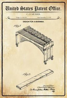 US Patent Office - Design for a Marimba - Entwurf für einen Marimba - Musser - 1950 - Design No 160108 - Blechschild