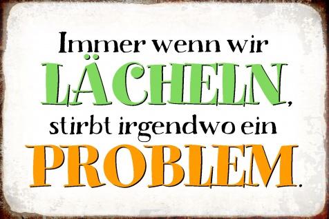 Blechschild Spruch Lächeln = stirbt Problem Metallschild Wanddeko 20x30 cm tin sign