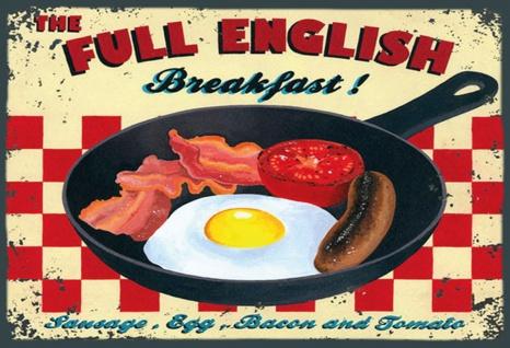 Retro: Full English Breakfast Metallschild Wanddeko 20x30 cm tin sign