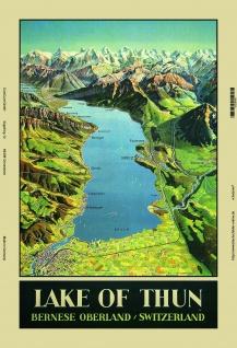 Lake Thun, Thunersee, karte Schweiz, blechschild