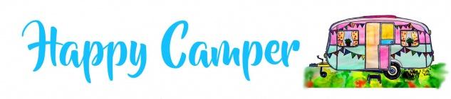 Blechschild Spruch Happy Camper weißes Metallschild 46x10 cm Wanddeko tin sign