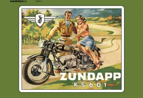 Zündapp KS601 paar auf motorrad blechschild