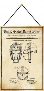 Blechschild Patent Entwurf Für eine für Baseball Maske Deko 20 x 30 m.Kordel