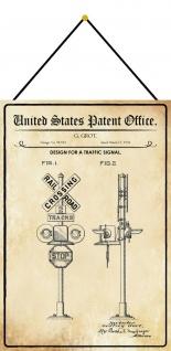 Blechschild Patent Entwurf für eine Verkehrszeichenanlage Deko 20 x 30 m.Kordel