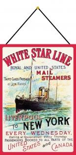 Blechschild Nostalgie Mail Steamers Liverpool to NY Metallschild 20x30 m.Kordel