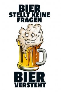 """"""" Bier stellt keine fragen?"""" blechschild, lustig, comic, metallschild"""