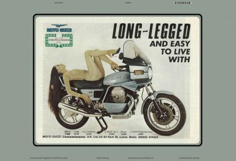 Moto Guzzi reklame long legged pin up auf motorrad blechschild