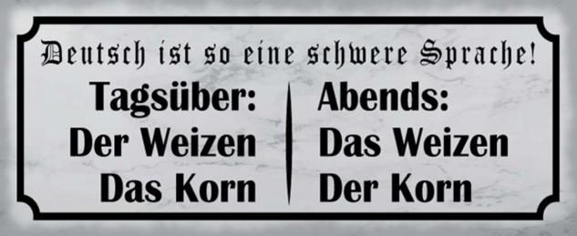 Blechschild Spruch Deutsch Sprache Korn Metallschild 27x10 cm Wanddeko tin sign