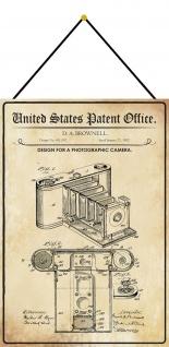 Blechschild Patent Entwurf für eine Fotokamera Metallschild 20 x 30 m.Kordel