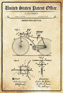 US Patent Office - Design for A Bicycle - Entwurf für eine fahrrad - Bibber 1892 - Design No 477.583 - Blechschild