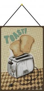 Blechschild Nostalgie Toast Now Automatic Metallschild 20x30 Deko mit Kordel