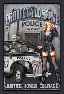 Retro: Pin up Police - protect and serve Blechschild 20x30 cm