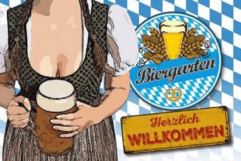 Blechschild Bier Biergarten Herzlich Willkommen Metallschild Wanddeko 20x30 cm tin sign
