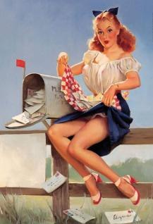 Nostalgie Pin up sexy rothaarige Frau am Briefkasten Mailbox Blechschild