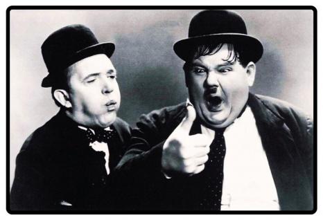 Retro: Laurel & Hardy / Dick und Doof (Schwarz-Weiß) Blechschild 20x30 cm