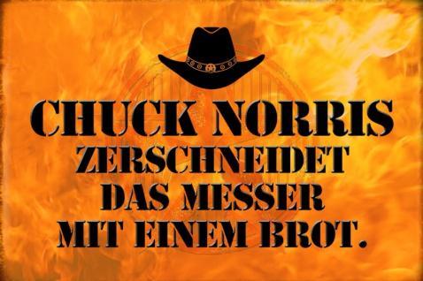 Blechschild Spruch Chuck Norris Messer mit Brot Metallschild Wanddeko 20x30 cm tin sign