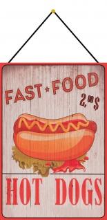 Blechschild Spruch Fast Food - Hot Dog 2, 00$ Metallschild 20x30 Deko mit Kordel