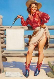 Nostalgie Pin up sexy Cowgirl mit Pistole Blechschild