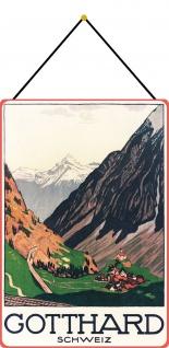Blechschild Schweiz Gotthard Metallschild Deko 20x30 tin sign mit Kordel