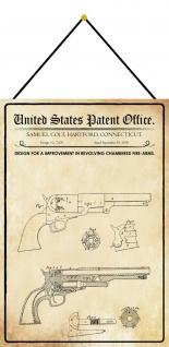 Blechschild Patent Entwurf für Trommelrevolver Metallschild Deko 20 x 30 Kordel