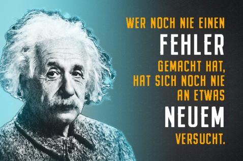 Blechschild Spruch Wer noch nie einen Fehler A.Einstein Metallschild Wanddeko 20x30 cm tin sign