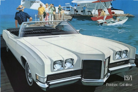 Pontiac Catalina 1971 Auto reklame blechschild, us, weiss, cabriolet