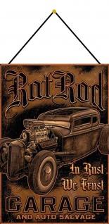 Blechschild Auto Hot Rod Garage Salvage Metallschild Wanddeko 20x30 mit Kordel