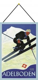 Blechschild Adelboden 1400m Schweiz Ski Metallschild Deko 20x30 mit Kordel