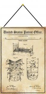 Blechschild Patent Entwurf für eine Zwangsjacke Metallschild 20 x 30 m.Kordel