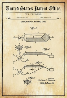 US Patent Office - Design for a Fishing Lure - Entwurf für einen Fischköder - Dunmire - 1951 - Design No 2.557599 - Blechschild