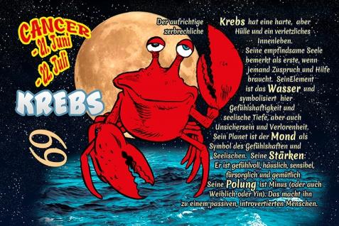 Krebs Cancer sternzeichen tierkreis... lustig blechschild comic