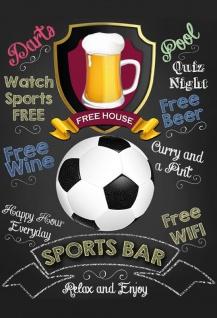 Sports Bar - relax and enjoy (Fußball) Blechschild 20x30 cm
