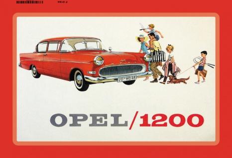 Opel /1200 familien auto reklame blechschild