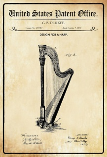 US Patent Office - Design for a Harp - Entwurf für einen Harfe - Durkee - 1890 - Design No 437917 - Blechschild
