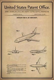 Blechschild Patent Entwurf Düsenflugzeug Steiner Metallschild Wanddeko 20x30 cm tin sign