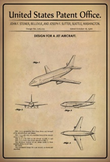 US Patent Office - Design for a Jet Aircraft - Entwurf für ein Düsenflugzeug - Steiner/Bellevue/Sutter Seattle 1966 - Design No 206.035 - Blechschild