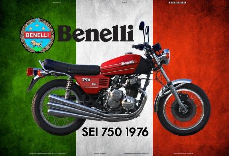Benelli SEI 750 1956 Italien motorrad blechschild