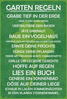 Blechschild Spruch Garten Regeln (Kleeblatt) Metallschild 20x30 Deko tin sign