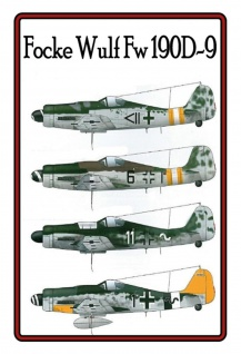 Focke Wulf Fw 190D-9 Flugzeugmodelle Blechschild 20x30 cm