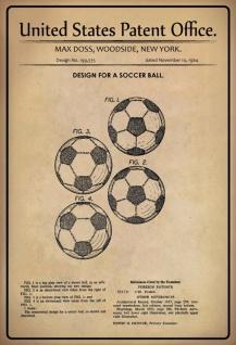 Blechschild Patent Entwurf für Soccer- Ball- Doss Metallschild Wanddeko 20x30 cm tin sign