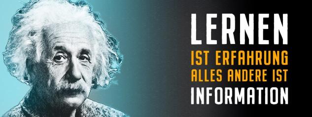Blechschild Einstein: Lernen ist Erfahrung Metallschild Wanddeko 27x10 cm tin sign